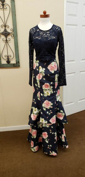 Prom Dress black lace floral Milano formals
